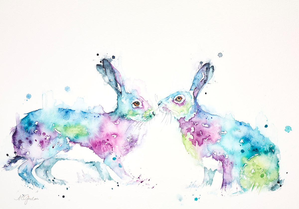 Quiet Romance - Two Hares in Blue